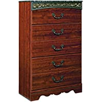 Ashley Furniture Signature Design - Fairbrooks Estate Chest of Drawers - 5 Drawer Dresser - Traditional - Reddish Brown