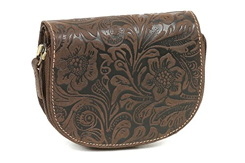 Portafoglio Donna ''motivo floreale'' LEAS, Vera Pelle, marrone - ''LEAS Vintage-Collection''