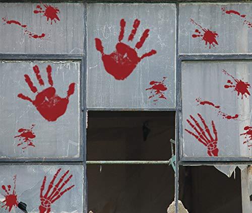 108PCS Bloody Handprints Window Clings - Halloween Vampire