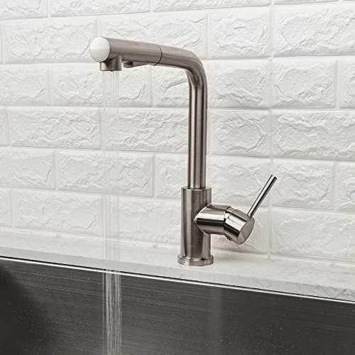 LORDEAR Bar Sink Faucet,Modern Style Stainless Steel 2 Water Function Setting Single Handle Pull Out with Sprayer Wet Bar Brushed Nickel Kitchen Faucet, Pull Down Kitchen Sink Faucet by Lordear (Image #2)