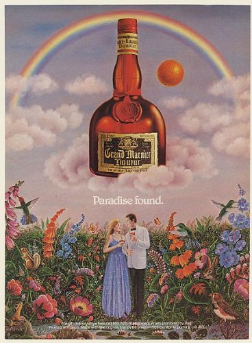 1985 Grand Marnier Liqueur Paradise Found Couple Rainbow Gallardo art Print Ad (Memorabilia) (54823) (Grand Marnier Liqueur)