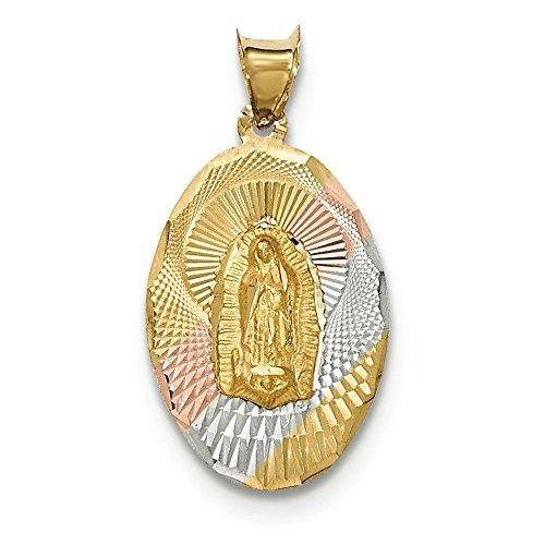 Poli 14 carats et Rhodium Diamant-cut Lady Guadalupe JewelryWeb de pendentif ovale