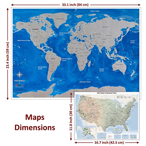 Deluxe gift bundle scratch off world map 3323 us travel map zoom images gumiabroncs Images