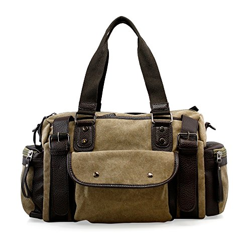 Oct17 Large Sports Duffle Bag Men Canvas Travel Shoulder Bag, Vintage Tote Portable Luggage Bag, Gym Sports Hiking Messenger Crossbody (Adventure Bag)