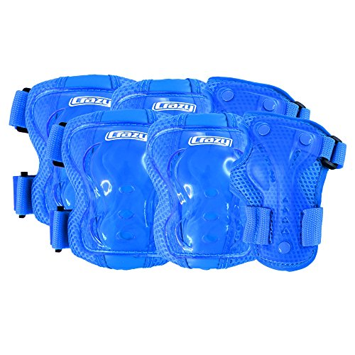 Crazy Skates Blue Kids Protective Gear Set for Rollerblading, Roller Skates, Skateboards and Cycling - Includes Knee, Elbow and Wrist Pads by Crazy Skates