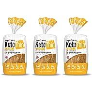 Keto Thin   Bread   1 Carb   Gluten-Free   Grain-Free   (0 Net Carbs)   100% Keto   (3 Pack)