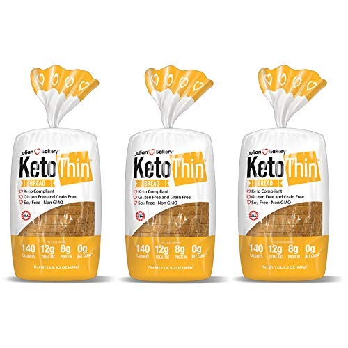 Keto Thin | Bread | 1 Carb | Gluten-Free | Grain-Free | (0 Net Carbs) | 100% Keto | (3 Pack)