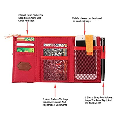 Lelance Visor Storage Case Multifunctional Car Sun Visor Pocket Pouch with Zipper Cross-Border Organizer Bag Vehicle Truck Accessories (Red): Automotive