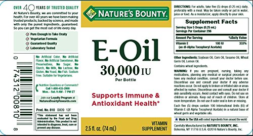Nature's Bounty® Vitamin E Oil 30,000 IU (Topical or Oral), 2.5 ounces