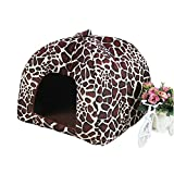 WEESDON Fashion Cotton Soft Dog Bed Pet Bag Cat Bed House Leopard M
