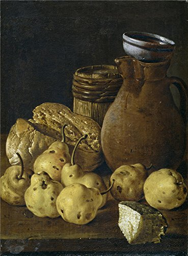 [Perfect Effect Canvas ,the High Definition Art Decorative Canvas Prints Of Oil Painting 'Melendez Luis Egidio Bodegon Pan Peras Queso Y Recipientes Third Quarter Of 18 Century ', 18 X 24 Inch / 46 X 62 Cm Is Best For Hallway Decor And Home Decoration And] (Third Leg Costume)
