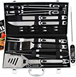 ROMANTICIST 21pc BBQ Grill Accessories Set with Thermometer - The Very Best Grill Gift on Birthday Valentine's Day - Heavy Duty Stainless Steel Grill Utensils with Non-Slip Handle in Aluminum Case