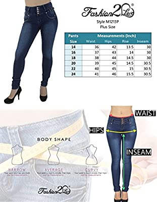 Diamante Style M1213P– Plus Size, Colombian Design, High Waist, Butt Lift, Skinny Jeans