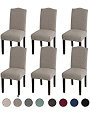 Dining Room Chair Covers Stretch Dining Chair Slipcover Parsons Chair Covers Chair Furniture Protector Covers Removable Washable Chair Cover for Dining Room, Hotel, Ceremony (6, Taupe)