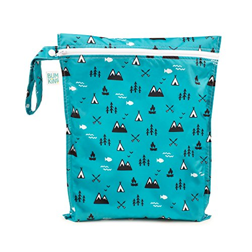 Bumkins Waterproof Wet Bag, Washable, Reusable for Travel, Beach, Pool, Stroller, Diapers, Dirty Gym Clothes, Wet Swimsuits, Toiletries, Electronics, Toys, 12x14 - Outdoors