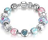 anewish Charm Bracelet for Girls Colorful Beads Heart Design Length: 19 cm