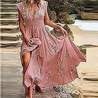 Zzalo Bohemian Beach Dress V-Neck Fringed Long Skirt for Women Floral Long Skirt (Color : 01 Pink, Size : S)