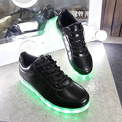[Present:small towel]JUNGLEST® Women Men LED Light Glow Sneakers Fluorescence athletic sport Black nXxqK