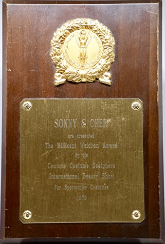 Sonny Bono And Cher Costumes (1973 - The Millicent Waldron Award present to Sonny & Cher - Rare - Original Plaque)