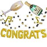 Sharlity Champagne Congrats Grad Party Decor Balloon Aluminum Balloon for Graduation Party, 16inch golden foil GRADUATION PARTY