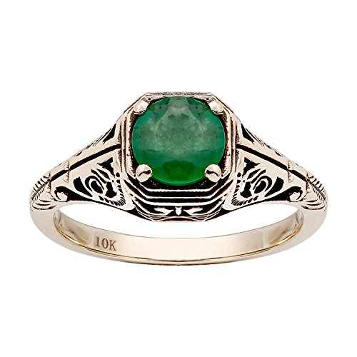 10k Yellow Gold Vintage Style Genuine Round Emerald Filigree Ring