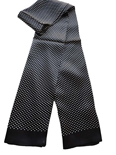 100% Silk Double Layer Men Scarf Neckerchief (Dot black)