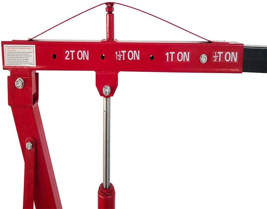 LYYNTTK 2 TON Capacity Folding Engine Motor Hoist Cherry Picker Shop Crane Lift red 4000lb