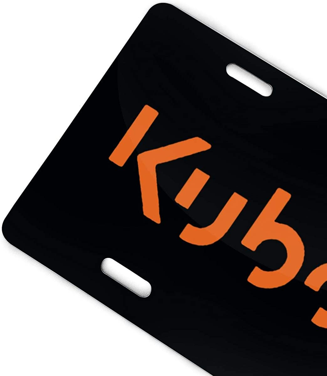 D0zopazkw Kubota Tractor Orange Logo Aluminum License Plate Cover for Car License Plate Cover with 4 Holes Car Tag 6x 12