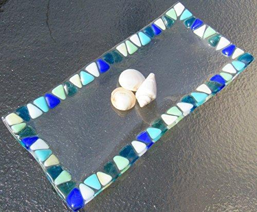 Ocean Beach Glass Plate Sea Glass Jewelry Keeper Fused Glass Sushi Plate Mosaic Turquoise Blue Sea Glass Appetizer Dish Ocean Waves Beach Glass Art Beach House Decor -