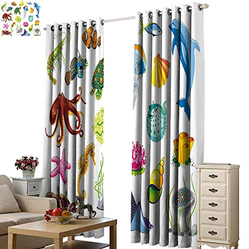 WinfreyDecor Marine Soft Curtain Sea Animals Octopus Dolphin Shells Stingray Crab Turtle Jellyfish Wildlife Graphic Privacy Protection W108 x L84
