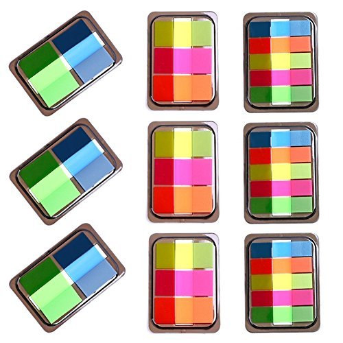 9 Pads Page Markers-3 Size, Neon Self Sticky Notes Sticky Tabs Page Tags, Assorted Color Index Tags Page Flags for Book Mark, Memo Pads Dispensers for Highlight, Writable Lables-600PCS