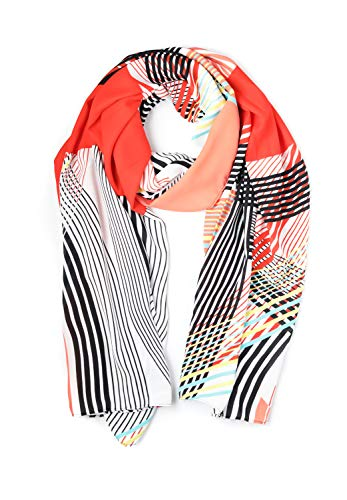 momomio Womens Sheer Chiffon Scarf Soft Vintage Fashion Scarves For Women 27 by 68 Inch (Red Abstract Print)