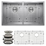 Perfetto Kitchen and Bath 32 Undermount 50/50 Double Bowl 16 Gauge Stainless Steel Kitchen Sink with Drain and Dish Grid by Perfetto Kitchen and Bath