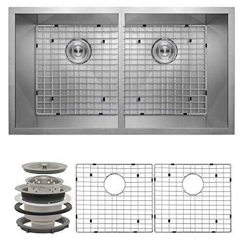 Perfetto Kitchen and Bath 32 Undermount 50/50 Double Bowl 16 Gauge Stainless Steel Kitchen Sink with Drain and Dish Grid by Perfetto Kitchen and Bath by Perfetto Kitchen and Bath