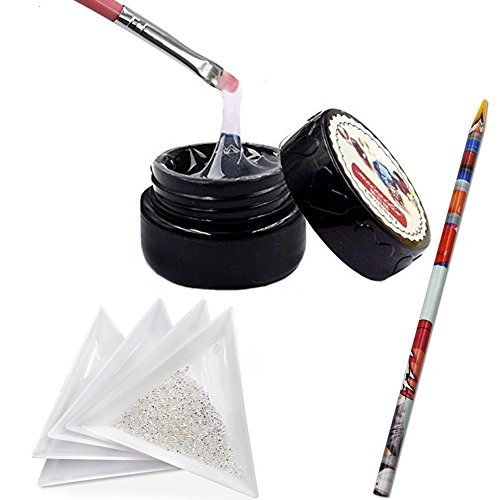 (QIMYAR Nail Art Glue Sticker And 1440Pcs Mini Diamond Shining DIY Rhinestones with 5 Pcs White Triangular Plate Container & 1Pc Wax Pen &1Pc Painting Pen)