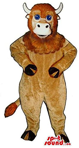 [Brown Bull Animal Mascot SpotSound US With Woolly Face And Blue Eyes] (Blue Bull Mascot Costume)