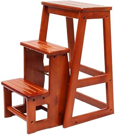 Wenhui Taburete Plegable de 3 Niveles de Madera de Caucho Escalera Multifuncional Silla de Banco Utilidad de Asiento, Taburete Convertible para Escalera, Marrón (Color : Brown): Amazon.es: Hogar
