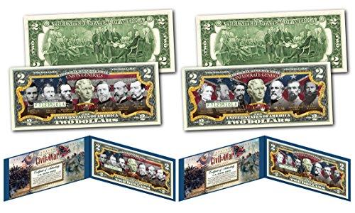 CONFEDERATE & UNION GENERALS of the American Civil War $2 U.S. Bills - SET OF 2 (Best Union Generals Civil War)