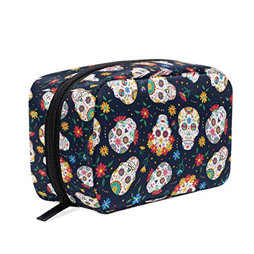 Mexican Sugar Skull Makeup Bag Cosmetic Bag Toiletry Travel Bag Case for Women, Day of The Dead Flowers Portable Organizer Storage Pouch Bags Box ()