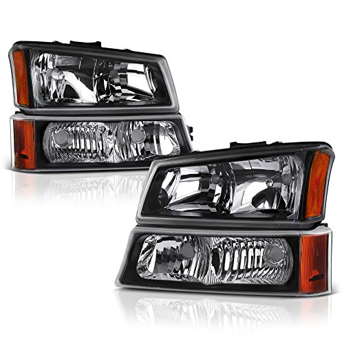 (VIPMOTOZ Black Housing Headlight & Front Turn Signal Bumper Lamp Assembly Set For 2003-2006 Chevy Avalanche & Silverado 1500 2500 3500, Driver & Passenger Side)