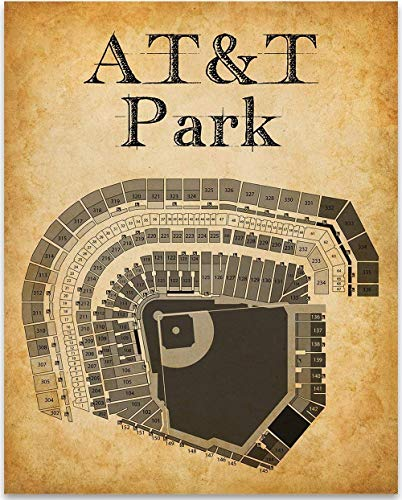 (AT&T Park Baseball Seating Chart - 11x14 Unframed Art Print - Great Sports Bar Decor and Gift Under $15 for Baseball Fans)