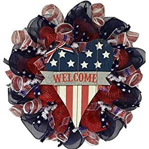 Patriotic Heart Handmade Deco Mesh Wreath 112