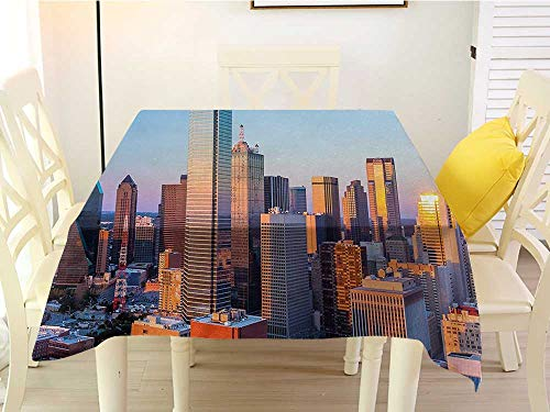 L'sWOW Checkered Square Tablecloth United States Dallas Texas City with Blue Sky at Sunset Metropolitan Finance Urban Center Multicolor Resistant 60 x 60 Inch]()