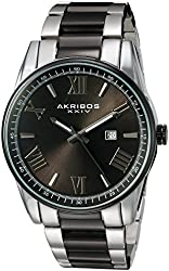 Akribos XXIV Men's Quartz Two-Tone Case with Silver-Tone Accented Black Dial on Two-Tone Stainless Steel Bracelet Watch AK936TTB