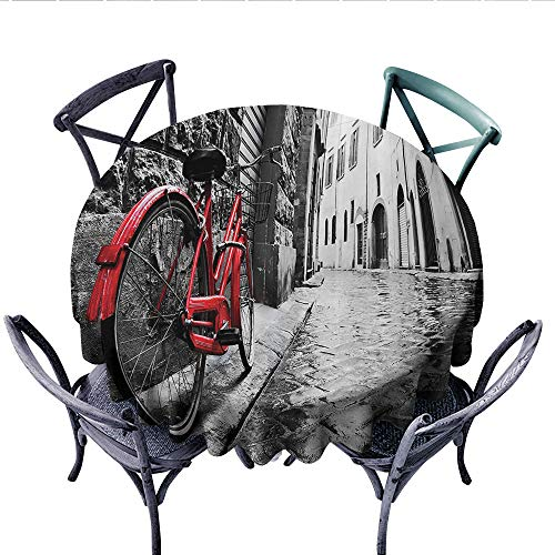 Bicycle Decor Washable Tablecloth Classic Bike on Cobblestone Street in Italian Town Leisure Charm Artistic Photo Table Cover for Kitchen (Round, 70 Inch, Red Black and - Charm Basketball Italian