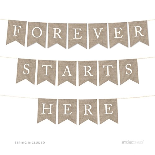 Andaz Press Wedding Hanging Bunting Pennant Party Banner with String, Printed Burlap, Forever Starts Here, 4-Feet, 1-Set, Includes String