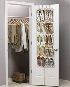 Heavy Duty 20 Pocket Over Door Hanging Shoe Organiser For 10 Pairs   Robust  Oxford Canvas Type Beige Material (600D) With Reinforced Clear PVC Pockets    135 ...
