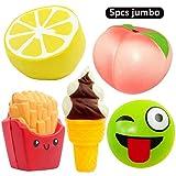 5pcs Jumbo Squishies Peach Lemon Ice Cream Cone Bun French Fries Squishies Slow Rising Squeeze Kawaii Scented Charms Hand Wrist Toys