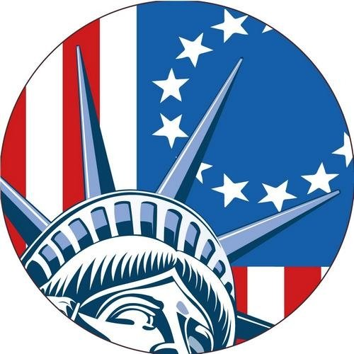 NMC HH155R, Hard Hat Label''Flag & Liberty.'' (20 Packs of 25 pcs)