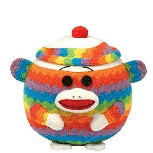 (Ty Beanie Ballz 5'' Plush RAINBOW Zig Zag Sock Monkey Ball ~NEW~ PRS)